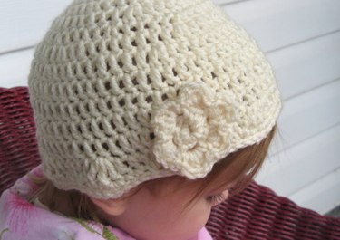 Crochet Toddler Beanie Hat w/Flower